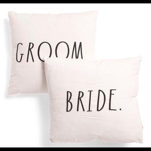 Rae Dunn groom bride pillow set